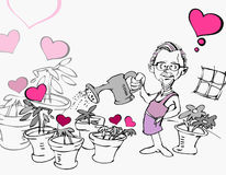 Senior Old Man in Garden with Heart Cartoon Stock Image