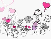 Senior Old Man in Garden with Heart Cartoon Stock Image