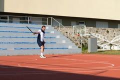 Senior Caucasian Man Playing Tennis Stock Photo