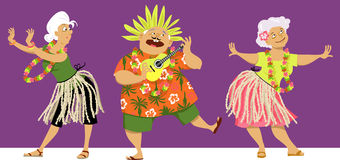 Senior Center Luau. Senior adults characters dressed for a luau party, EPS 8 vector illustration Stock Photo