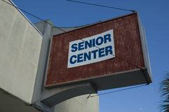 Senior Center Sign. Outside attached to building Stock Images