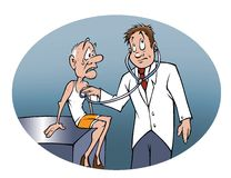 Senior check-up. Cartoon illustration of a senior at a doctor's office for a check-up Stock Image