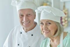 Senior chefs couple Stock Photo