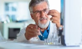 Senior chemistry professor/doctor carrying out research experiments. In an analytical chemistry lab color toned image Royalty Free Stock Photo