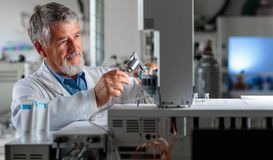Senior chemistry professor/doctor carrying out research experiments Stock Images