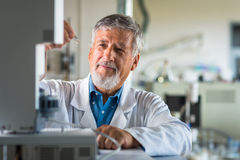 Senior chemistry professor/doctor in a lab Stock Photos