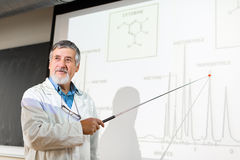 Senior chemistry professor giving a lecture in front of classroom. Full of students (shallow DOF; color toned image Stock Images
