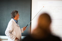 Senior chemistry professor giving a lecture. In front of classroom full of students (shallow DOF; color toned image Stock Images