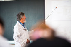 Senior chemistry professor giving a lecture Royalty Free Stock Photo