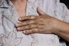 Senior with chest pain Royalty Free Stock Images