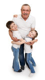 Senior with children family portrait Stock Photos