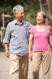 Senior Chinese Couple Walking In Park Royalty Free Stock Images