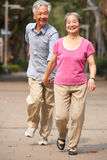 Senior Chinese Couple Walking In Park Stock Photos