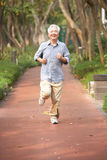 Senior Chinese Man Jogging In Park Stock Images