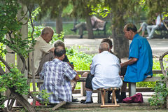 Senior Chinese men playing card Stock Photo