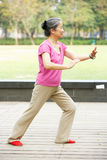 Senior Chinese Woman Doing Tai Chi In Park Stock Photos