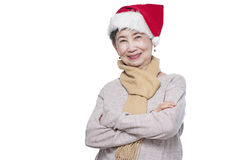 Senior Christmas Lady Royalty Free Stock Photos