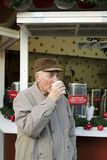 Senior on the christmas market Royalty Free Stock Photography
