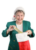 Senior With Christmas Stocking Royalty Free Stock Photo