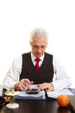 Senior citizen calculation pension Royalty Free Stock Photography