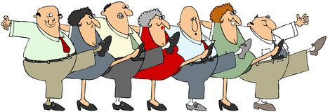 Senior citizen can-can. Illustration depicting senior men and woman dancing the can-can Royalty Free Stock Images