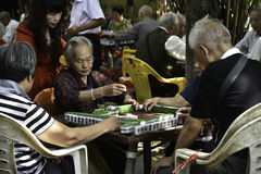 Senior citizen. S playing mahjong in wuhan city,hubei province ,china Royalty Free Stock Photos