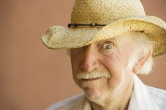 Senior Citizen Man in a Cowboy Hat Stock Image