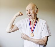 Senior Citizen Medal Winner Royalty Free Stock Image