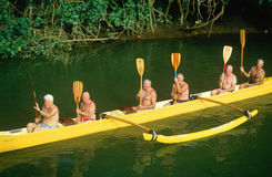A senior citizen outrigger crew Stock Images