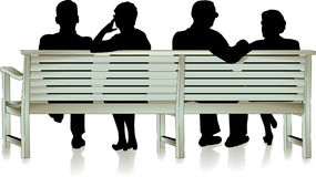 Senior citizen and park bench Royalty Free Stock Images