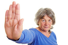 Senior citizen reaching out stock image