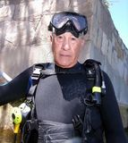 Senior citizen scuba diver Stock Photography