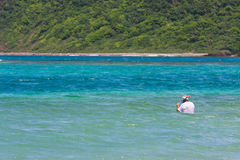 Senior Citizen Snorkeling Stock Photo