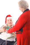 Senior citizens christmas. Isolated on white Stock Photography