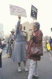 Senior citizens protesting nuclear warfare Stock Photo