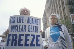 Senior citizens protesting nuclear warfare, Stock Photography