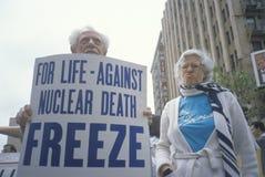 Senior citizens protesting nuclear warfare, Los Angeles, California Stock Photography