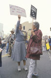 Senior citizens protesting nuclear warfare, Los Angeles, California Stock Photo