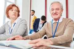 Senior citizens in training royalty free stock images