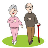 Senior Citizens Walking Stock Image