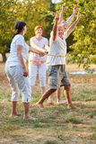 Senior citizens winning the running competition Royalty Free Stock Image