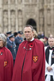 Senior clergymen march from Exeter Cathedral Stock Photo