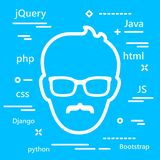 Senior Coder head icon with programming languages for web develo