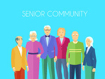 Senior Community People Group Flat Poster. Senior community center older people meeting place to enjoy social activities together flat blue background  poster Royalty Free Stock Photos