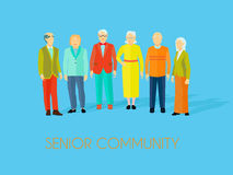 Senior Community People Group Flat Poster. Senior community center older people meeting place to enjoy social activities together flat blue background poster Royalty Free Stock Photo