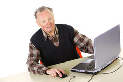 Senior with computer Royalty Free Stock Image