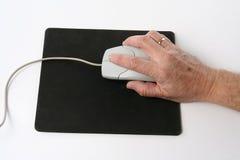 Senior computing - mouse Stock Photo