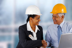 Senior Construction Foreman. Construction workers working on a job together royalty free stock images