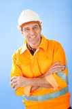 Senior construction worker on sky Royalty Free Stock Photo