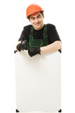 Senior constructor holding the blank board Royalty Free Stock Image